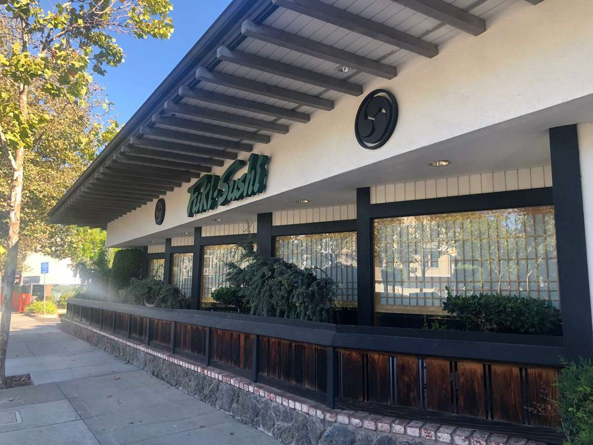 The Fuki Sushi restaurent in Palo Alto, Calif. The restaurant is still reeling after its owner was subjected to a racist attack by a customer frustrated with their contactless payment policy. Police are seeking a hate crime enhancement as their investigation into the incident continues.