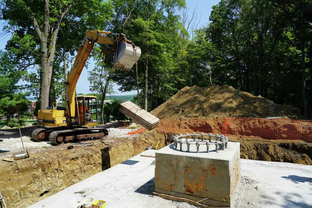 The foundation for the base of the 85-foot cell tower on the Keith Richey property at 183 Soundview in New Canaan has been poured.