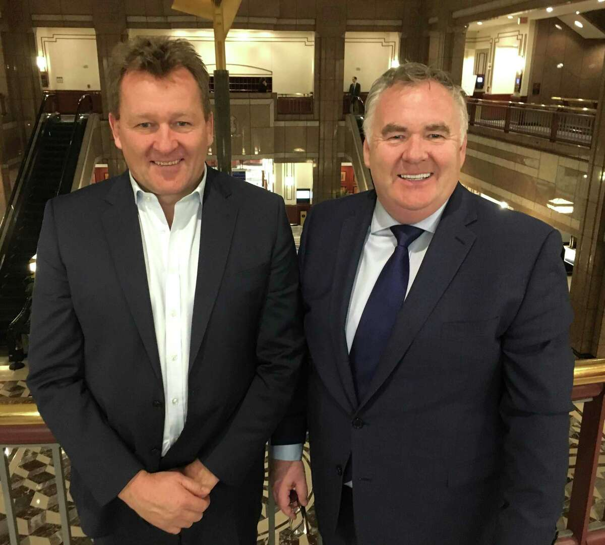 Ted Taylor, left, president of venues at Sportech plc, the company that runs Connecticut OTB locations, and Richard McGuire, the Sportech CEO, at the Legislative Office Building in Hartford, in a 2020 file photo.