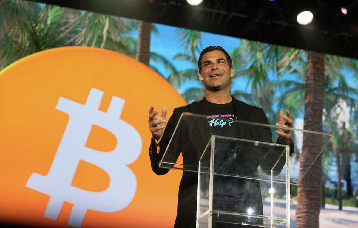 Mayor Francis Suarez, speaking at the Bitcoin 2021 cryptocurrency convention, strives to build Miami's tech culture.