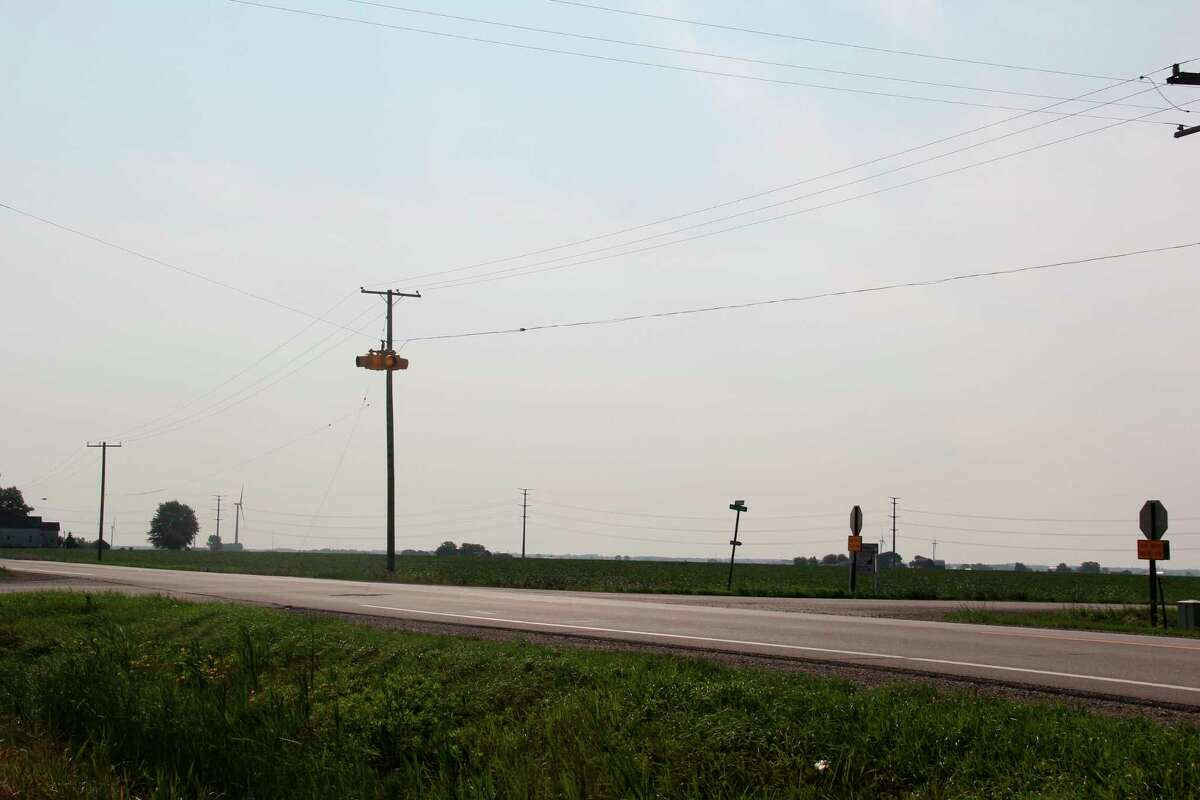 There are various safety measures already in place at the intersection of Sebewaing and Bay Port roads, yet two traffic accidents have already occurred there this year. The road commission is looking into what possible ways it can make this intersection safer. (Robert Creenan/Huron Daily Tribune)