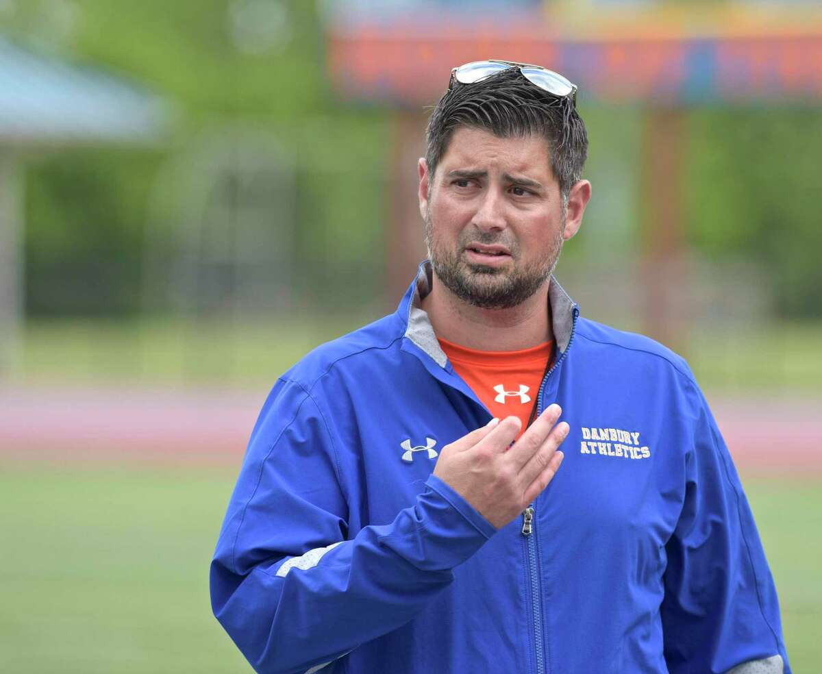 Danbury coach Augustine Tieri during the annual spring Blue-White Scrimmage of the Danbury High School football team, Friday, June 15, 2018.