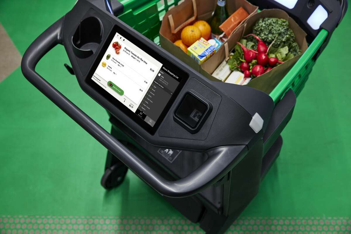 The Amazon Dash Cart allows shoppers to skip the checkout line.