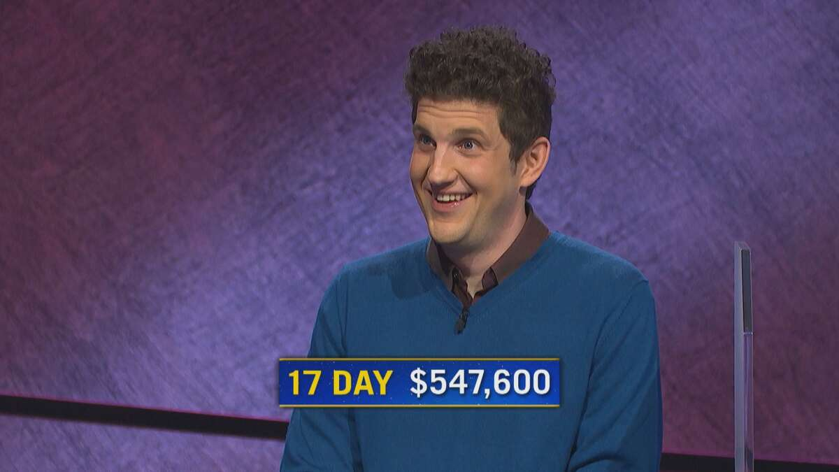 """Yale PhDstudent Matt Amodioearnedhis 17th straight win on """"Jeopardy!"""" on Thursday, Aug. 12, 2021 and became number three on the quiz show's all-time highest winnings list for regular-season play."""