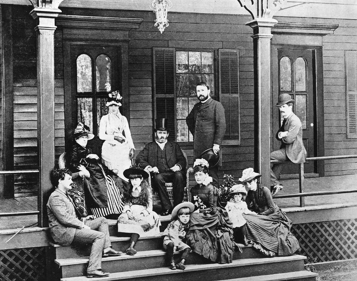 Ulysses Simpson Grant with his family on the verandah of their house.
