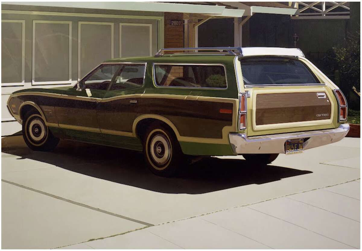 """1974's """"Alameda Gran Torino"""" oil on canvas photorealist painting by Robert Bechtle."""