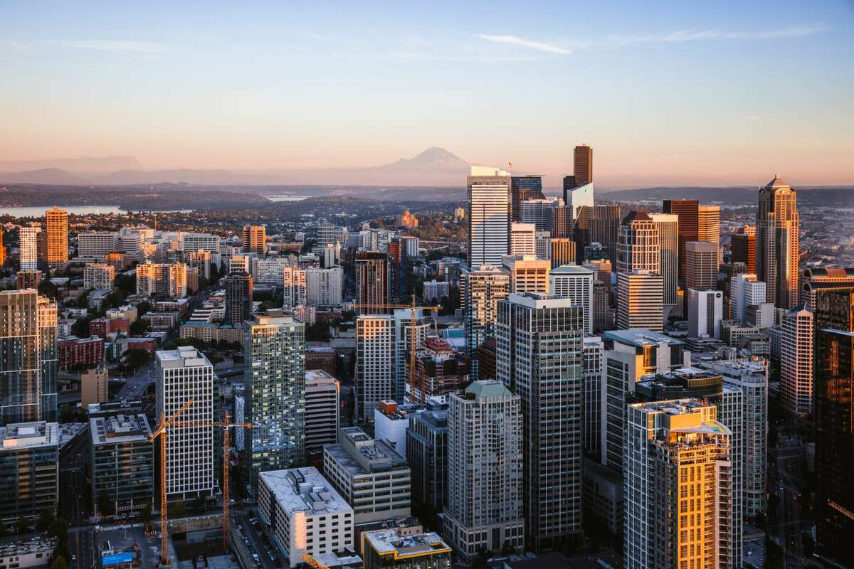 Aerial view of Seattle downtown skyline at sunset.