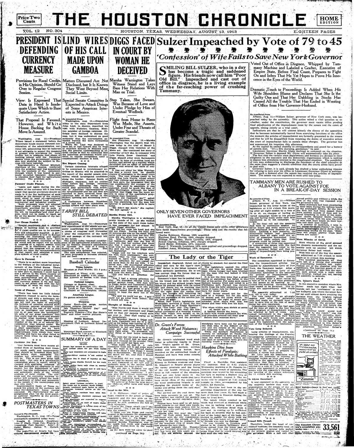 Houston Chronicle front page from Aug. 13, 1913.