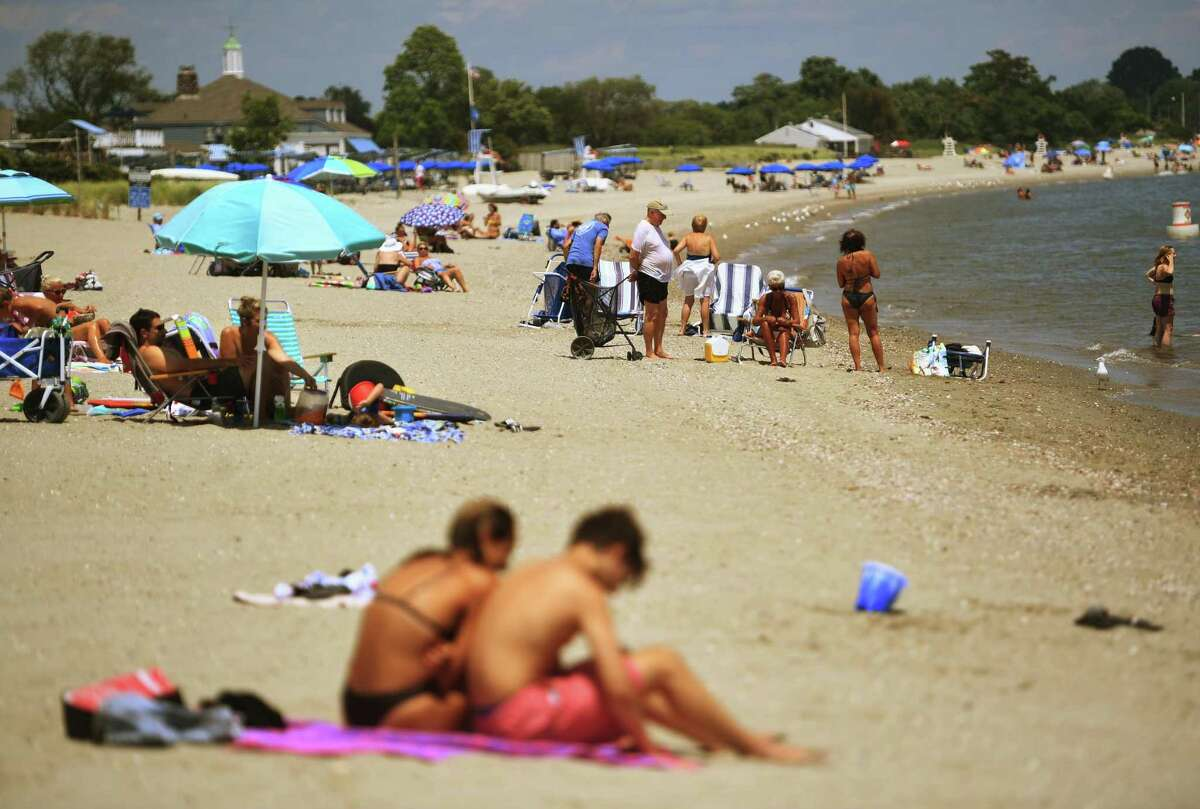 Town residents beat the heat at Penfield Beach in Fairfield, Conn. on Monday, July 20, 2020.