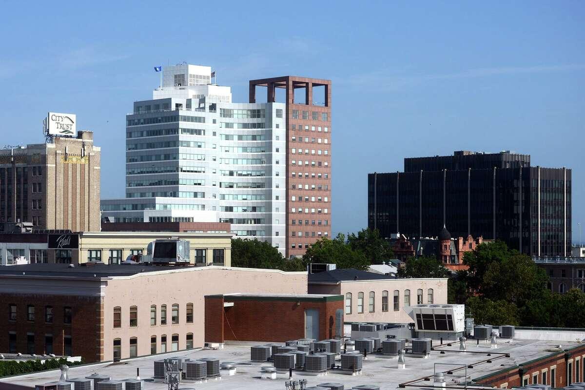 Skyline views of downtown Bridgeport in August.