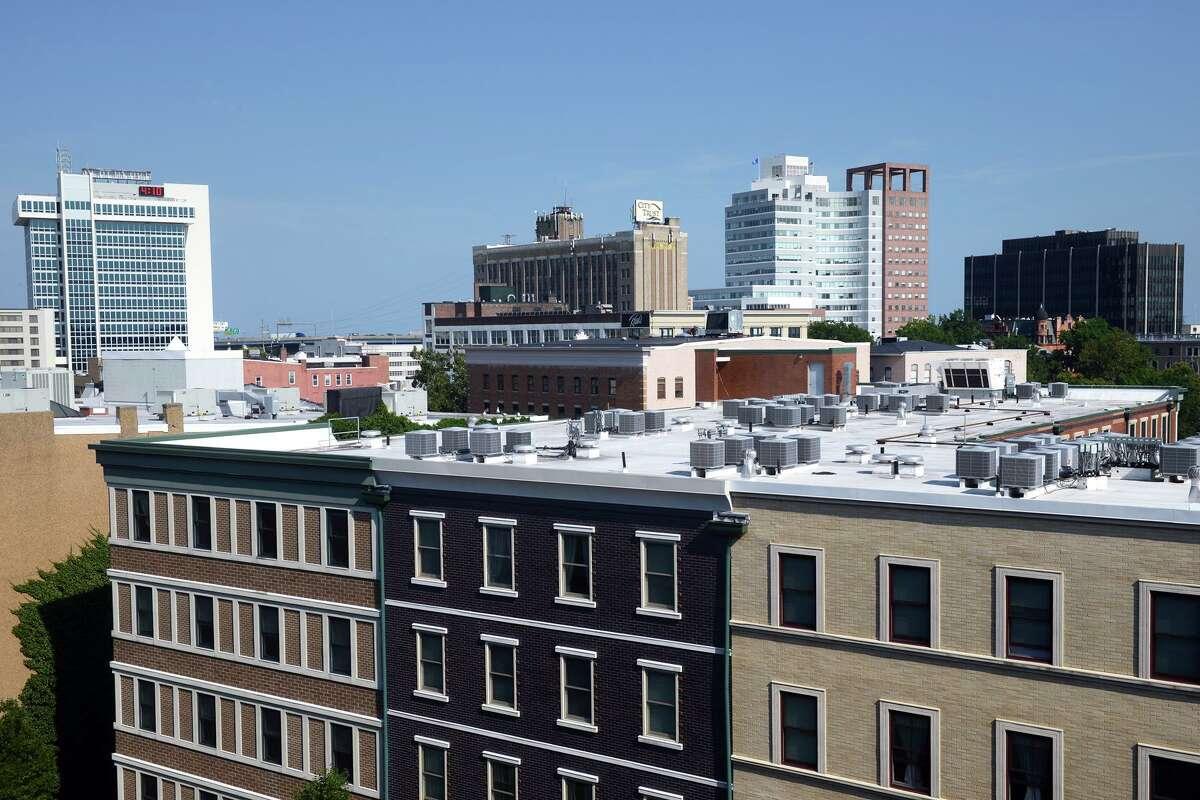 Skyline views of downtown Bridgeport.