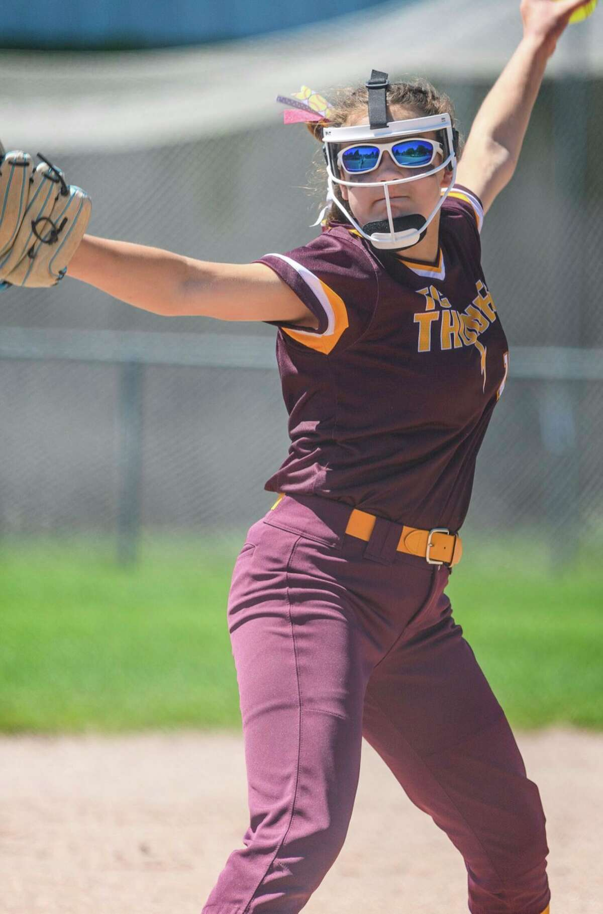 Chippewa Hills' Ella Newman delivers a pitch for the Traverse City Thunder during the summer season. (Courtesy photo)