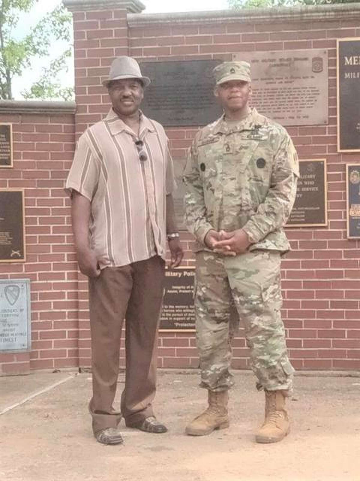 Alton resident Lee Barham, left, with his son, Sergeant First Class Anthony Louis Barham, who earned the recent promotion, at Fort Leonard Wood, Missouri.