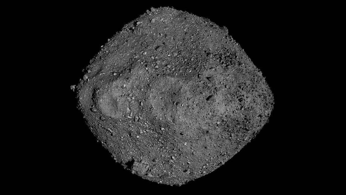 A mosaic view of Bennu was created using observations made by NASA's OSIRIS-REx spacecraft that was in close proximity to the asteroid for over two years.