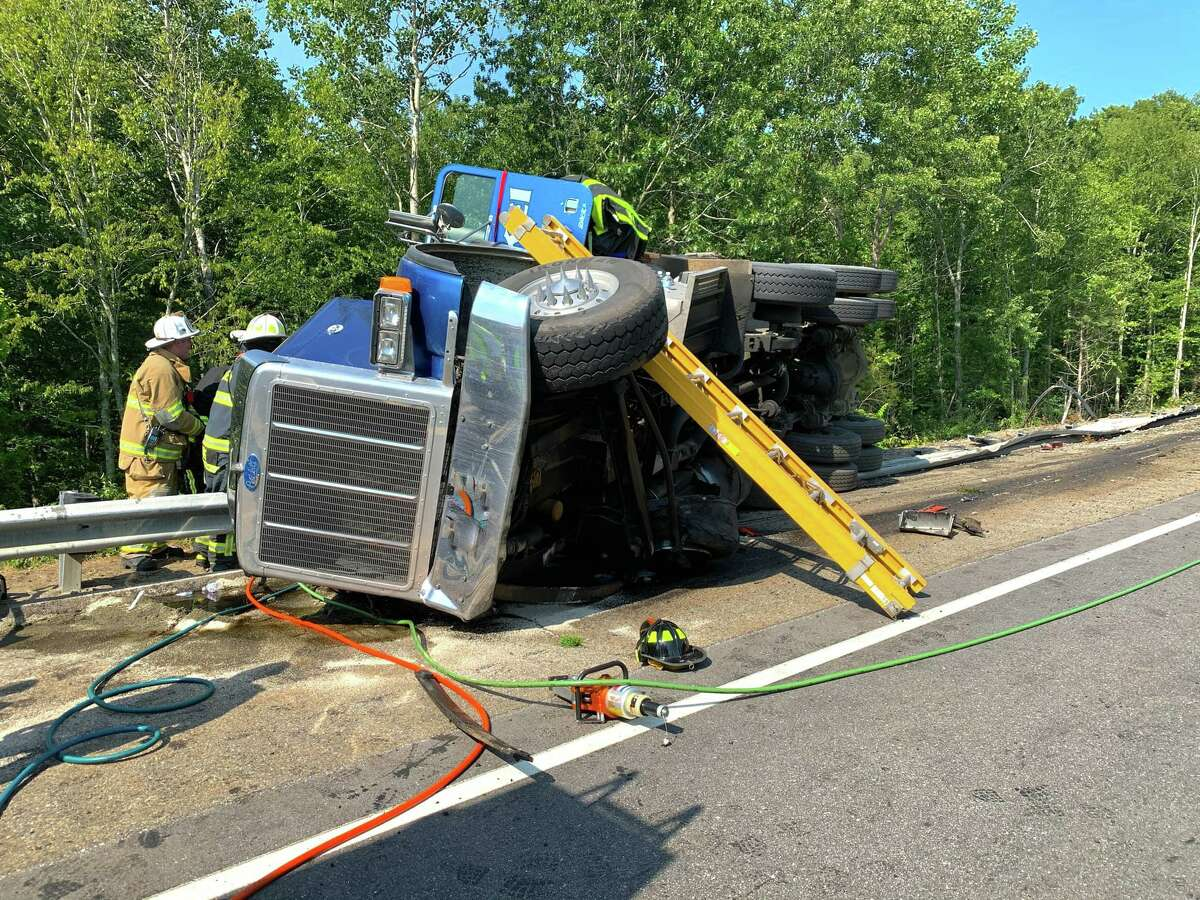 A tractor trailer rolled over on the highway around 3:05 p.m. Thursday.