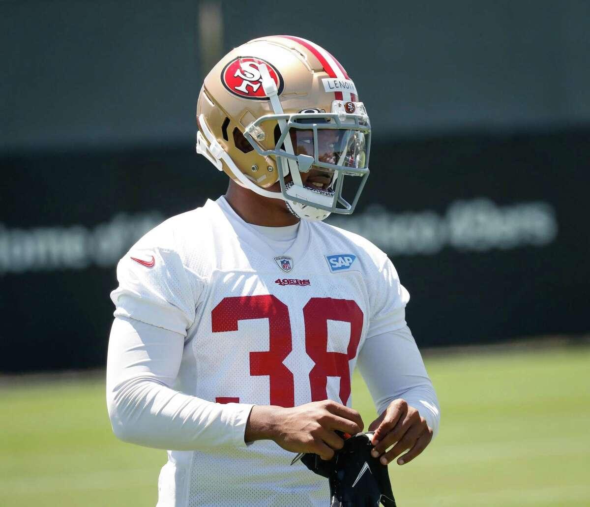 49ers cornerback Demmodore Lenoir (38) practices at 49ers headquarters on Wednesday, June 2, 2021 in Santa Clara, Calif.