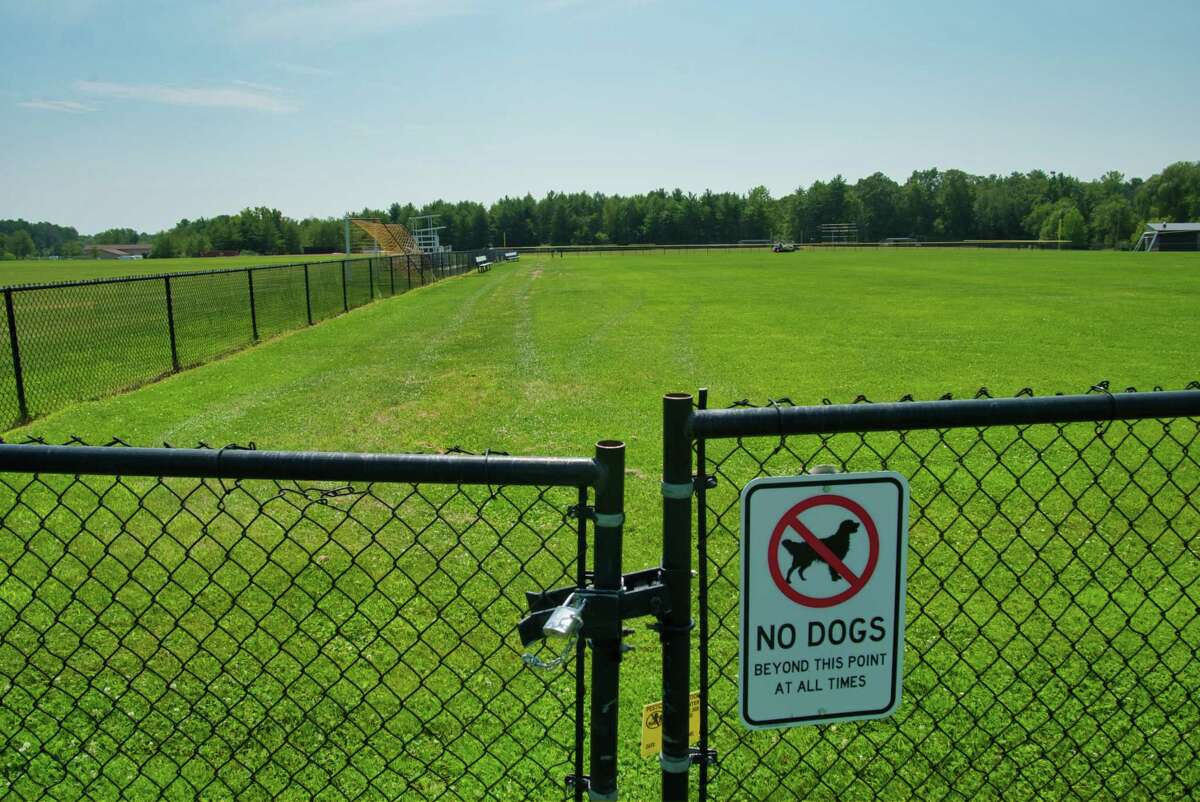 A view of a sport's field at Bethlehem High School on Thursday, Aug. 12, 2021, in Bethlehem, N.Y. There is a proposal to make a generic grass field an artificial turf field.