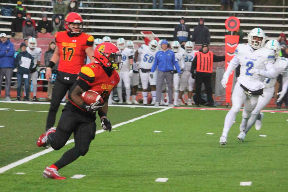 Ferris' Marvin Campbell looks for running room during the 2019 season. (Pioneer file photo)