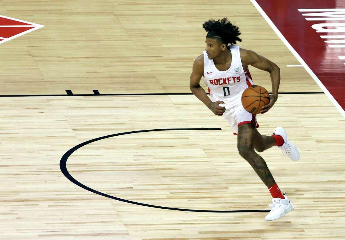Rockets rookie Jalen Green left Thursday's game a sore hamstring.