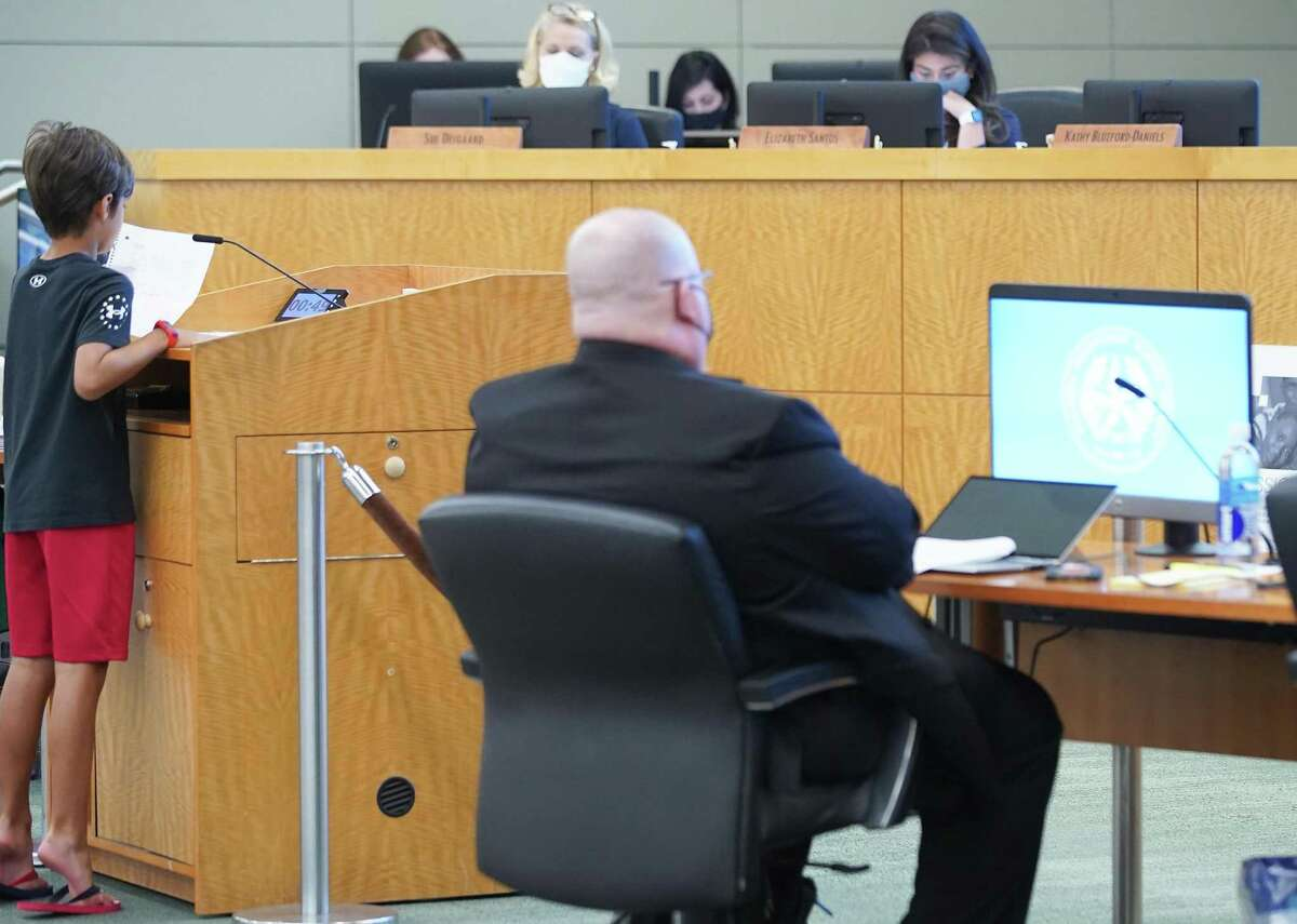 HISD student Liam Solano shares his opinion against the mask mandate to HISD Board members in Houston on Thursday, Aug. 12, 2021.