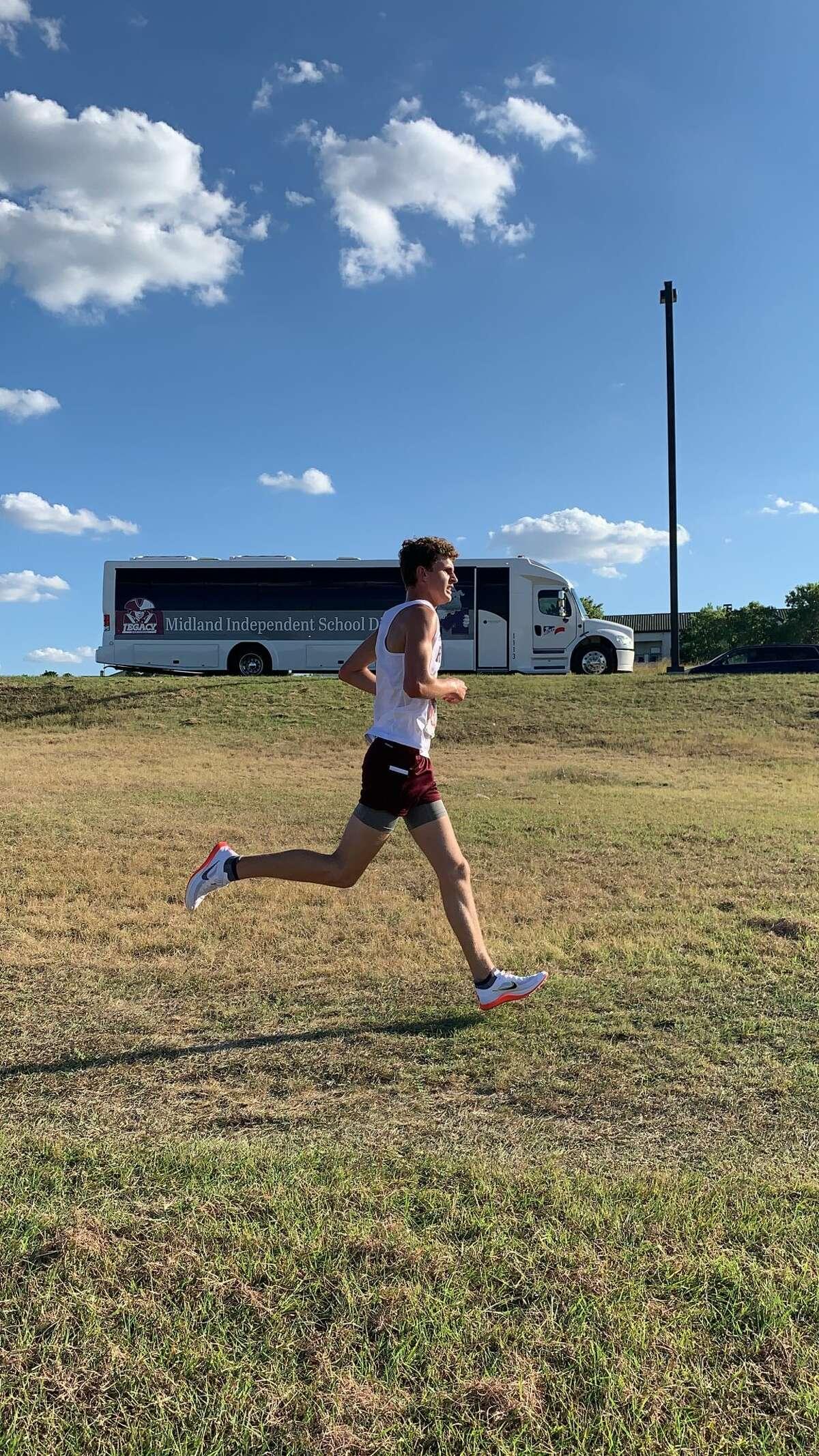Legacy sophomore Bridger Bowcutt runs in Thursday's Birdville Early Bird Invitational.