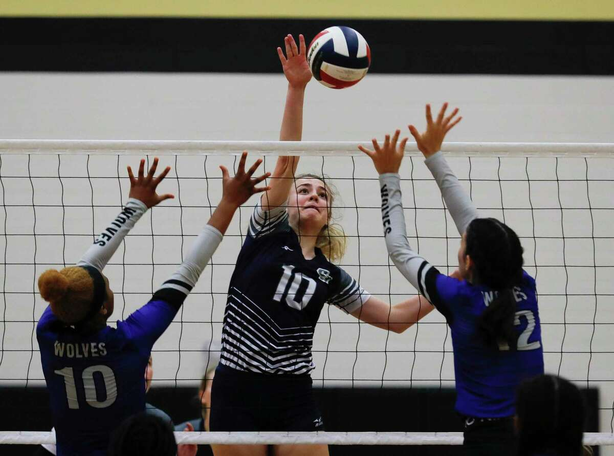 College Park's Cassidy Copeland (10) scores a point during a high school volleyball tournament at Cedar Park High School, Thursday, Aug. 12, 2021, in Cypress.