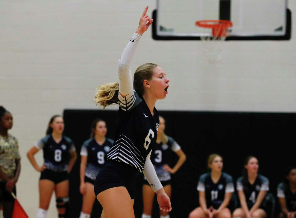College Park's Mallory Madison (6) reacts after a point during a high school volleyball tournament at Cedar Park High School, Thursday, Aug. 12, 2021, in Cypress.