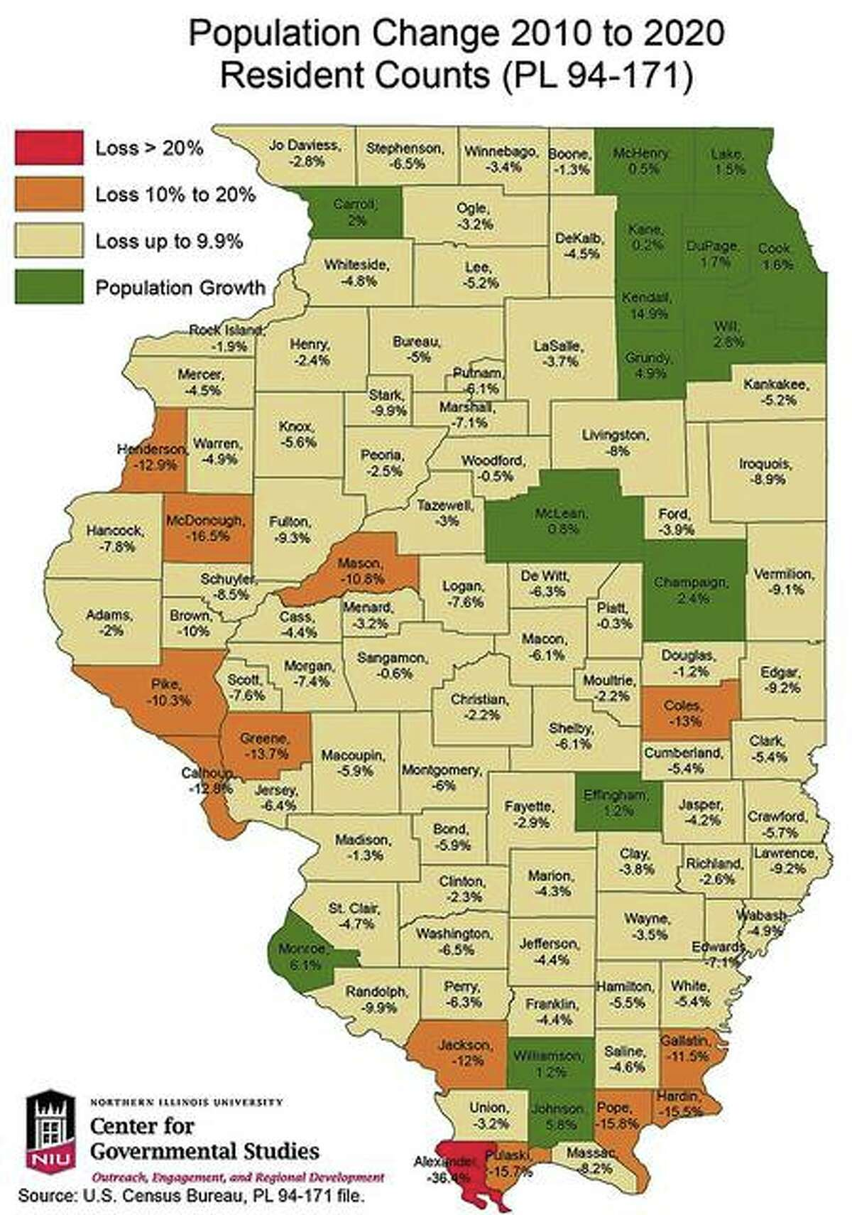 Illinois county population change from 2010 to 2020 based on U.S. Census data compiled by the Center for Governmental Studies at Northern Illinois University.