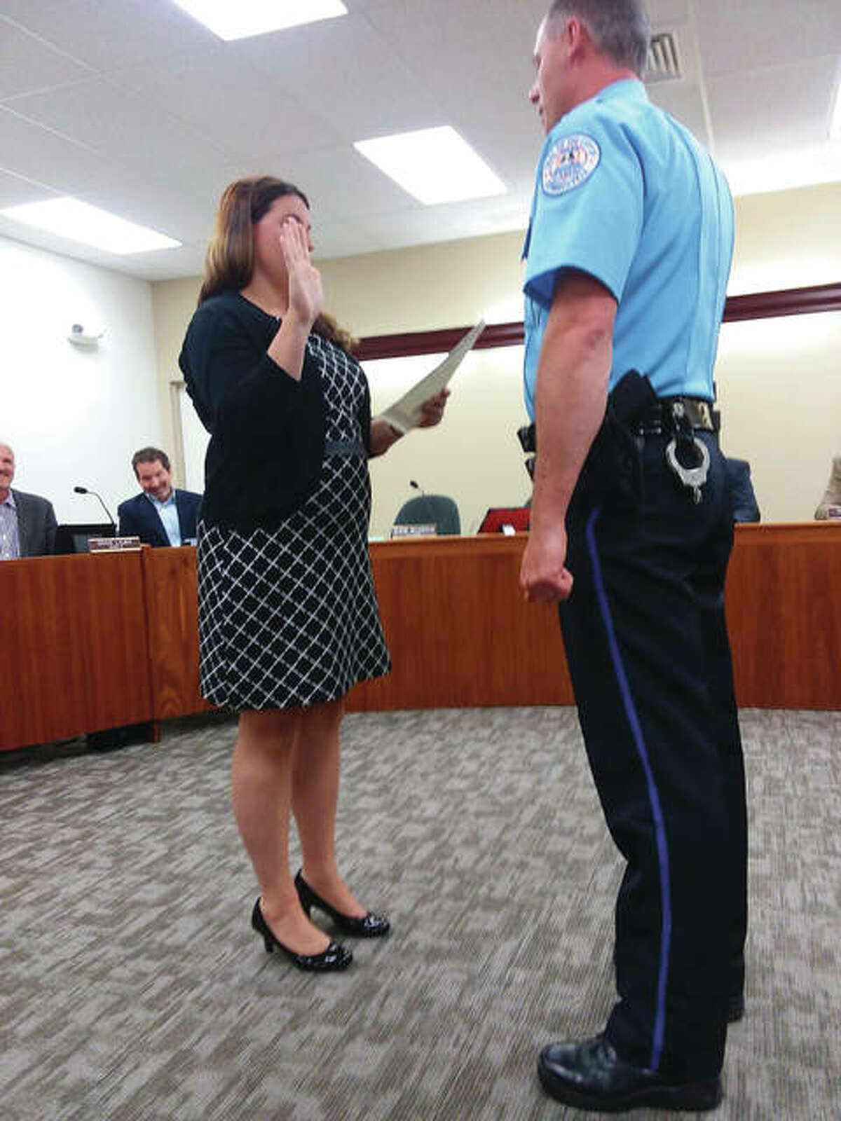 Edwardsville Police Department's Lt. Michael Lybarger in 2018, when he was sworn in as a new lieutenant in city hall. As of this week, he was named as the city's new deputy police chief.