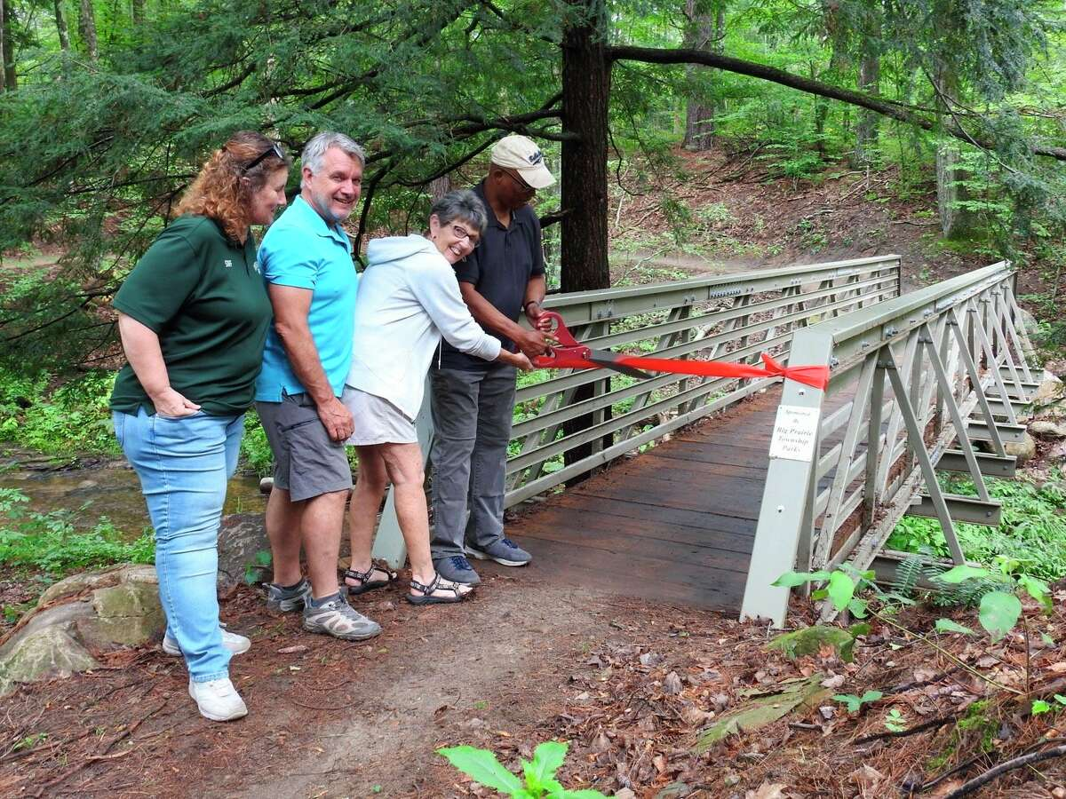 Pictured at the ribbon cutting, from left, is Teresa Ball, park manager; Randy Van Dam, parks board vice chair; Sharon Reuhmeier, parks board treasurer; and Reuben Tucker, parks board chair. (Courtesy photo)