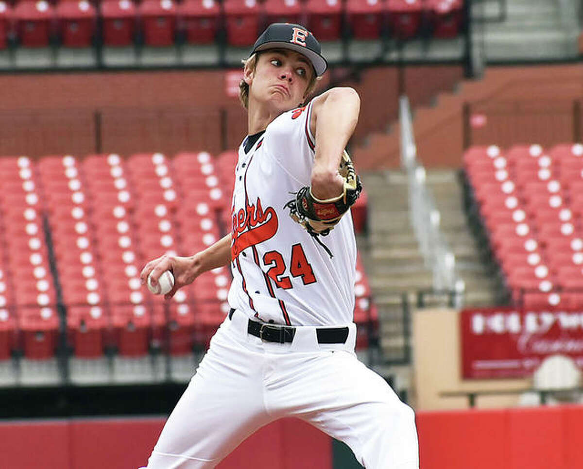 Edwardsville senior Quinn Weber delivers a pitch during the Tigers' annual Busch Stadium game this spring in St. Louis. Weber is the 2021 Telegraph Large-Schools Baseball Player of the Year.