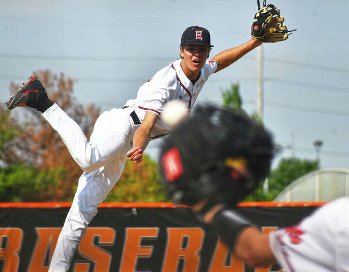 Edwardsville's Quinn Weber throws to his catcher during a game last season at Tom Pile Field in Edwardsville. Weber finished his senior season with an 8-2 record and 1.72 ERA.