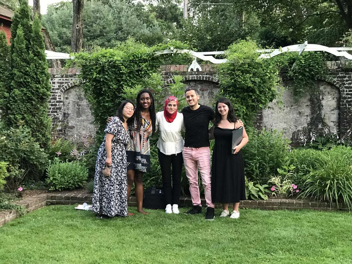 """Thrown Stone Theatre Company will present their roving production of """"The Suburbs"""" Aug. 26-Sept. 12. Playwright Catherine Yu (left), playwright Phanésia Pharel, director Kholoud Sawaf, playwright Tony Meneses, and assistant director Talia Hankin worked together to create the Ridgefield specific production."""