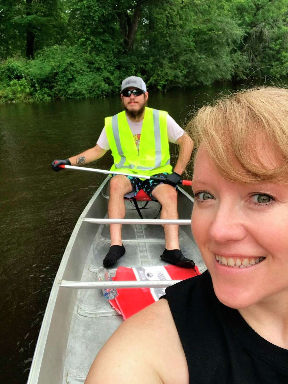 Lume volunteers float the river to pick up trash during the Muskegon River Trash Bash in Evart last week. (Submitted photo)