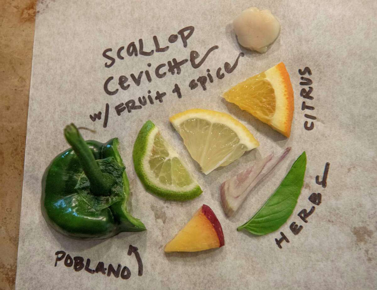 Ingredients Caroline Barrett uses to prepare scallop ceviche with fruit and spice.
