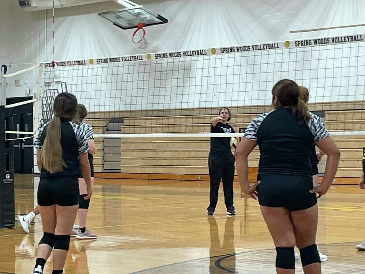 Spring Woods Volleyball coach Rebecca Campbell gives instructions during practice on Aug. 5.
