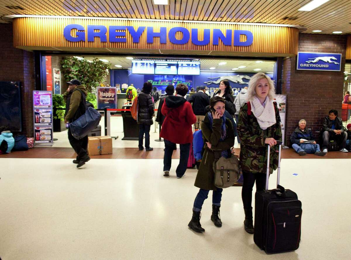 People make their way outside the New York Port Authority bus terminal in Manhattan on a recent weekday.