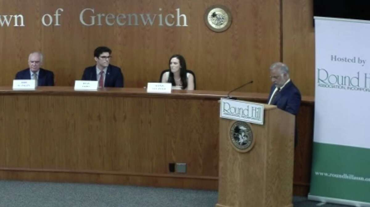 The Round Hill Association sponsored a forum for the three candidates running for the state Senate in a special election on Aug. 17. From left, they are: petition candidate John Blankley, Republican Ryan Fazio and Democrat Alexis Gevanter. RHA President John Conte, at right, asked questions that had been sent in advance by the public.