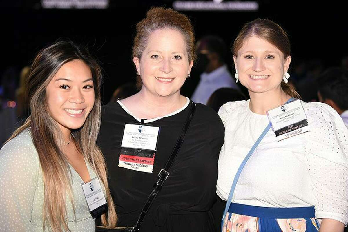 Jersey Village High School graduate Lily Chau, left, poses with Cy-Fair Educational Foundation Board of Trustee members Leslie Martone, center, and Kara Kovalsky. The scholarship reception allows scholarship donors and mentors to meet with scholarship recipients face-to-face.