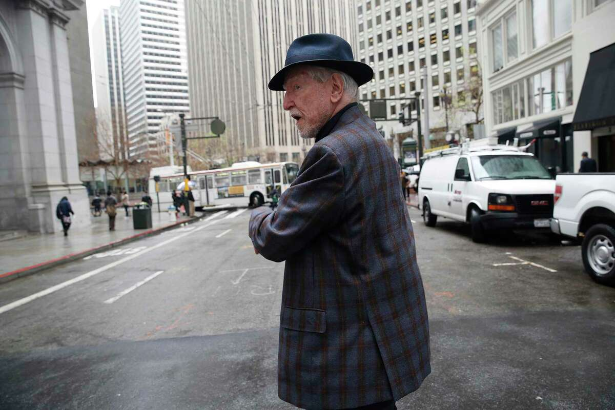 James C. Hormel takes a walk near his office in San Francisco in a 2016 photo. Hormel, the nation's first openly gay ambassador and a prolific philanthropist, died at the age of 88.