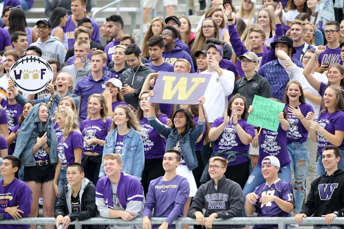 SEATTLE, WA - SEPTEMBER 9: Washington fans cheered during the football game between the Washington Huskies and the Montana Grizzlies on September 09, 2017 at Husky Stadium in Seattle, WA. Washington won 63-7 over Montana. (Photo by Jesse Beals/Icon Sportswire via Getty Images)