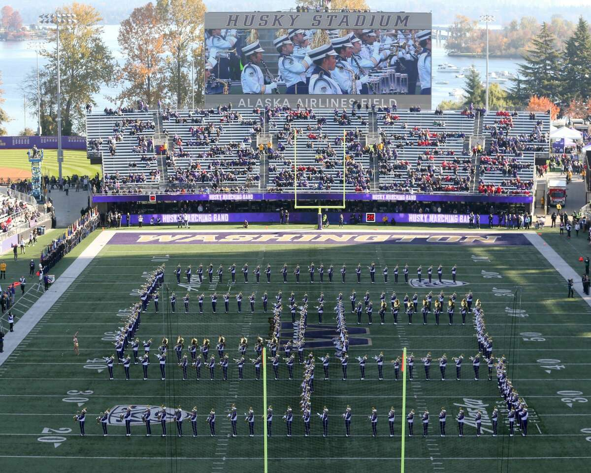 SEATTLE, WA - NOVEMBER 02: Washington band members entertained fans before the college football game between the Washington Huskies and the Utah Utes on November 02, 2019, at Husky Stadium in Seattle, WA. (Photo by Jesse Beals/Icon Sportswire via Getty Images)