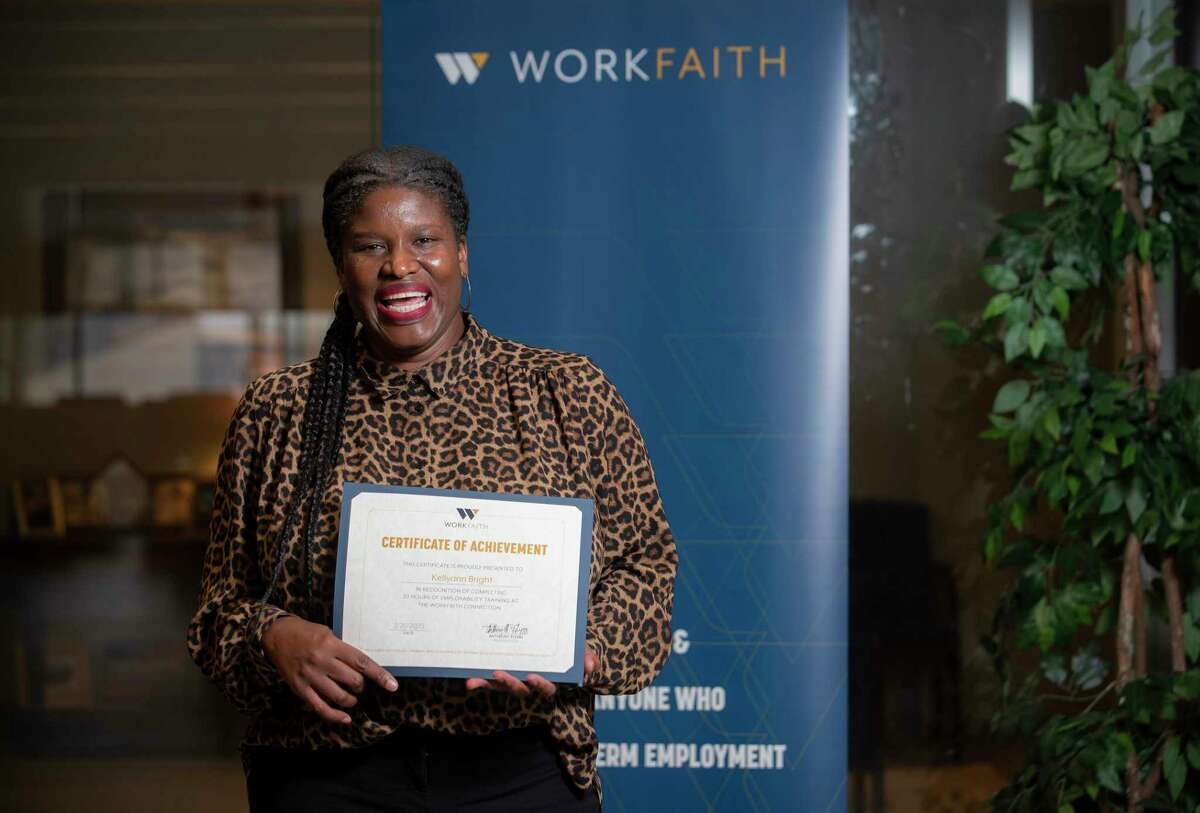 Kellyann Bright recently completed a work training course at WorkFaith, Wednesday, Aug. 4, 2021, at the organization's office in Houston. The organization, which provides training, workshops and coaching for people looking to begin or advance their careers, actually grew during the pandemic.