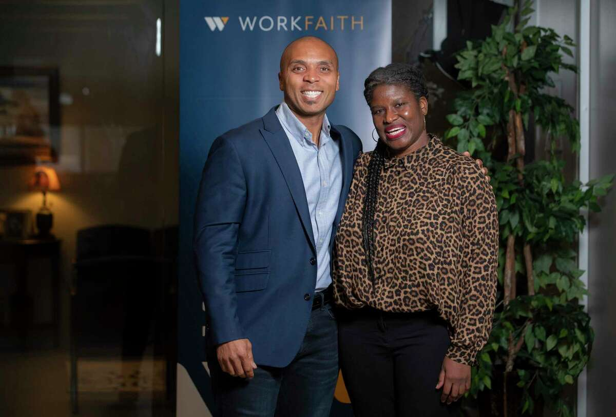 Kellyann Bright, who recently completed a work training course at WorkFaith, with the non-profit's CEO Anthony Flynn, Wednesday, Aug. 4, 2021, at the organization's office in Houston. The organization, which provides training, workshops and coaching for people looking to begin or advance their careers, actually grew during the pandemic.