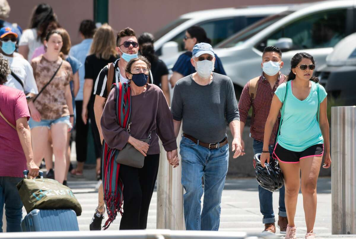 FILE - People walk near Little Island park on May 27, 2021 in New York City.(Photo by Noam Galai/Getty Images)
