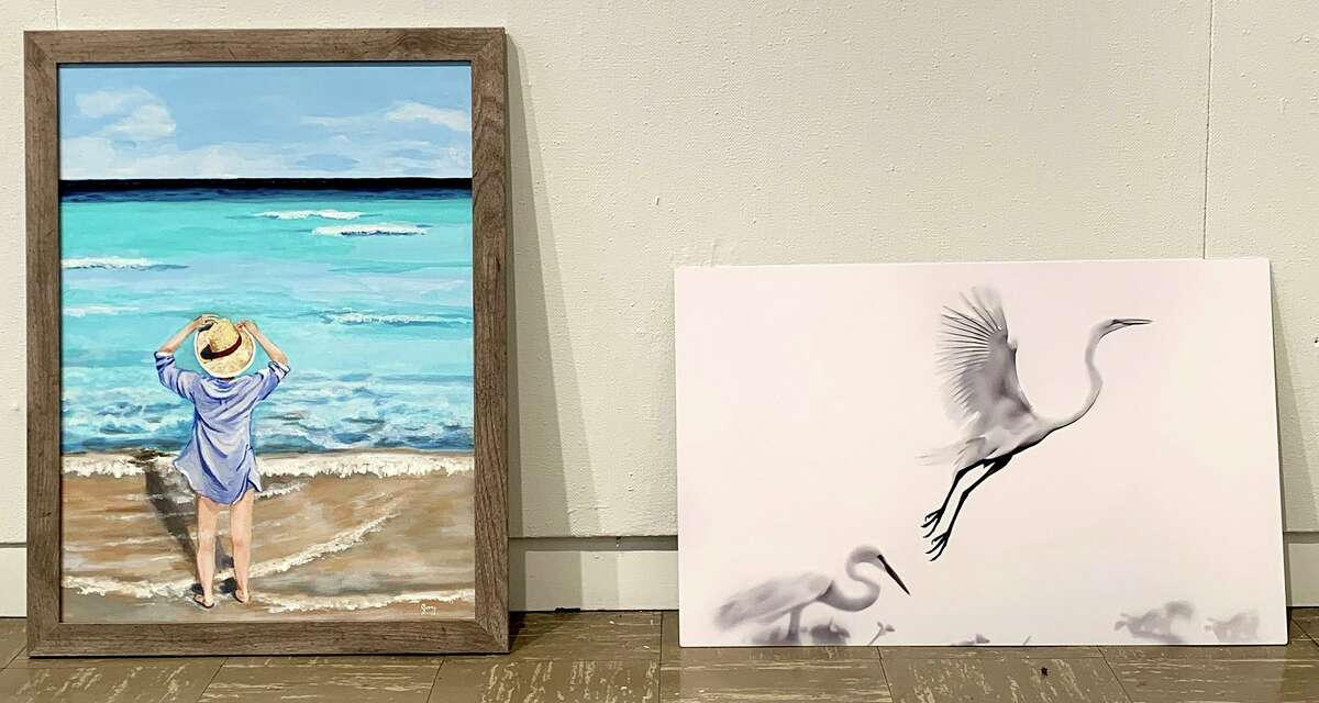 """Entries in the Beaumont Art League's """"Landscapes and Seascapes"""" show wait to be judged and hung, Aug. 9, 2021. The exhibition opens Aug. 14."""