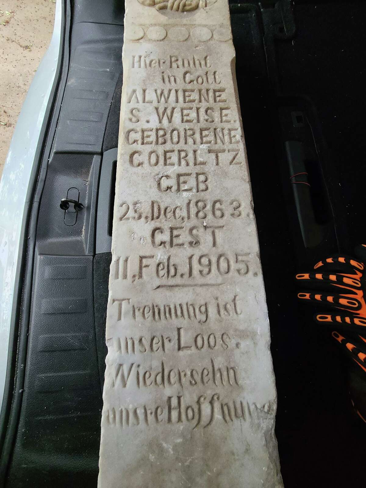 The tombstone of Alwiene S. Weise, with a death date of Feb. 11, 1905. She was only 41 when she died.