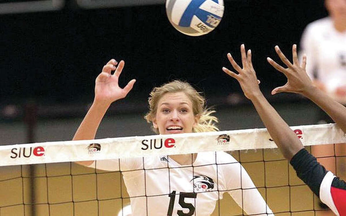 Former SIUE standout Kristen Torre has joined the Cougars volleyball coaching staff as a volunteer assistant. She is shown during her playing career with SIUE.