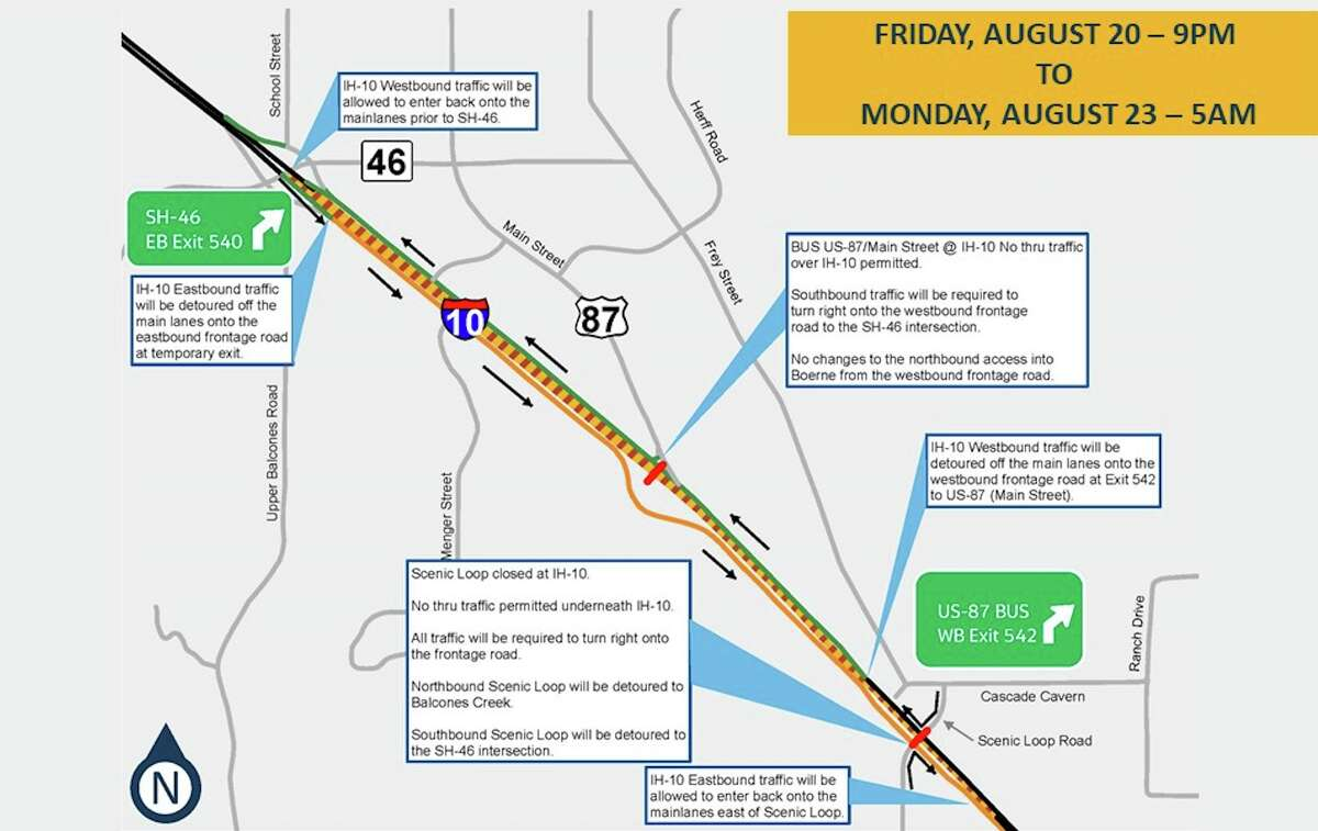The Texas Department of Transportation is closing a portion of I-10 in Boerne for a full weekend this month.