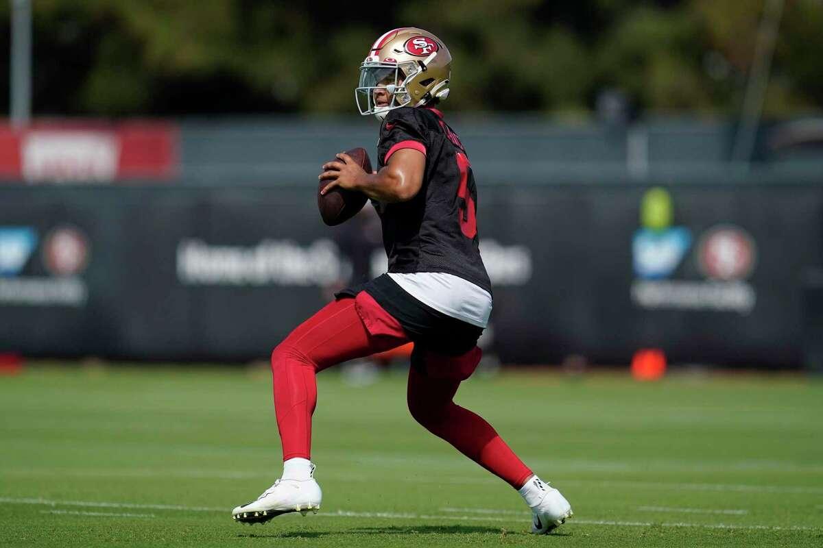 San Francisco 49ers quarterback Trey Lance at NFL football training camp in Santa Clara, Calif., Wednesday, July 28, 2021. (AP Photo/Jeff Chiu)